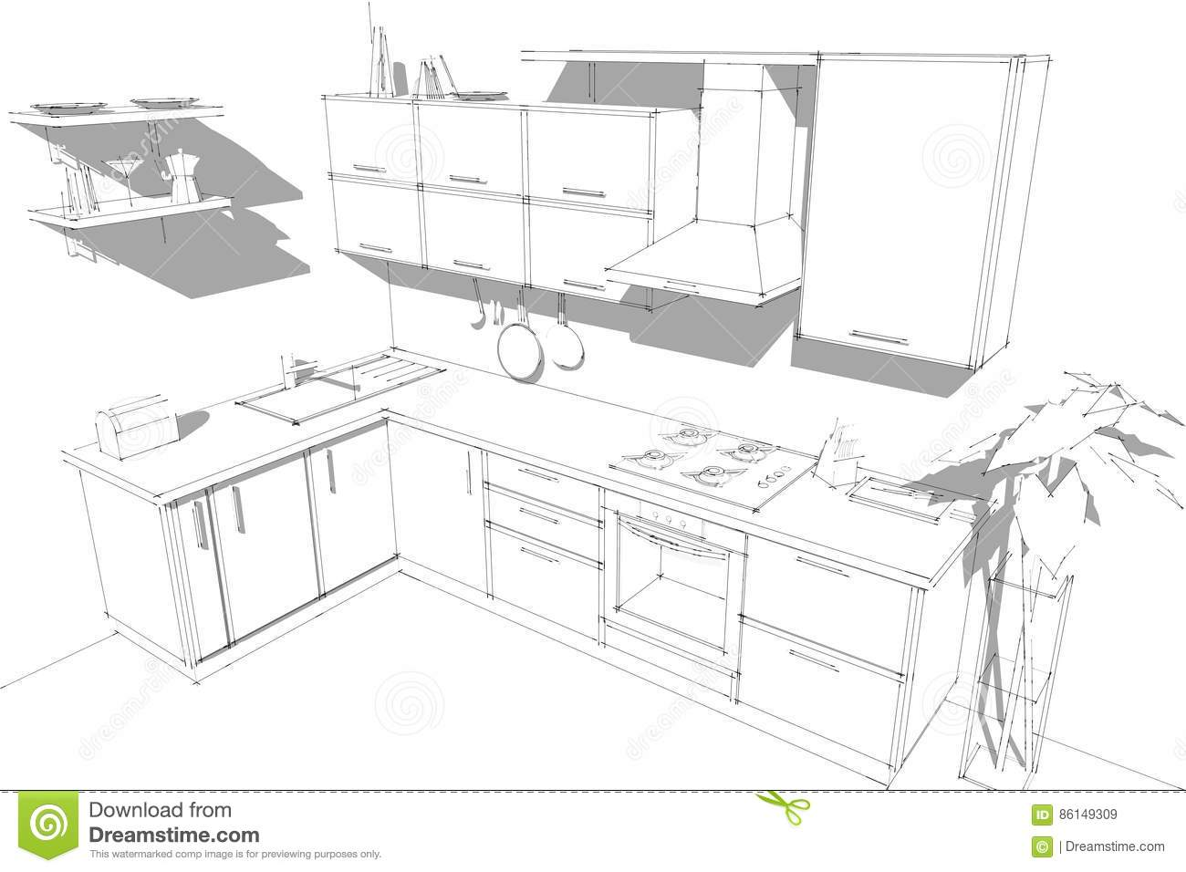 Sketch Abstract Contour Drawing Of 3d Modern Corner Kitchen Interior