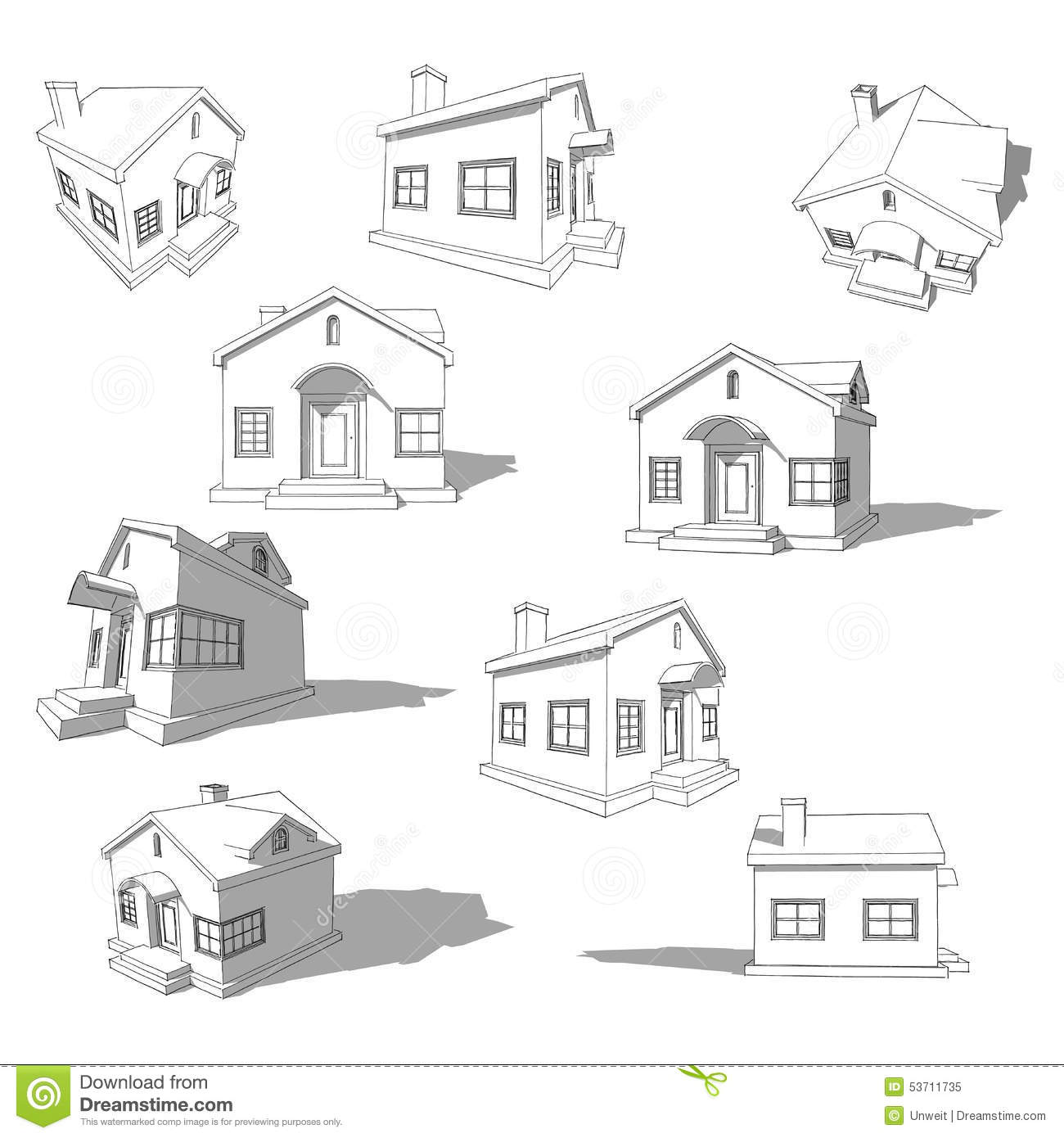 Sketch Of Abstract House Stock Vector - Image: 53711735