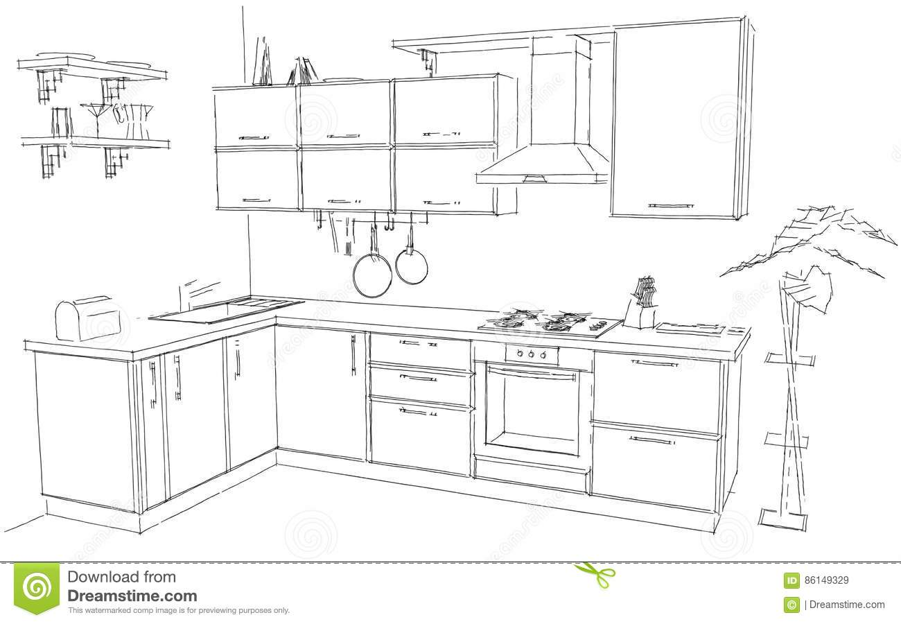 Sketch Abstract Outline Drawing Of Modern Corner Kitchen Interior
