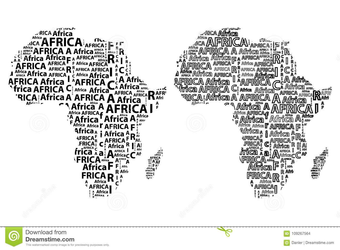 Shape Of Africa Map.Map Of Continent Africa Vector Illustration Stock Vector