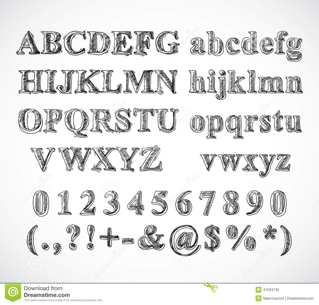 Sketch hand drawn alphabet black and white font letters numbers and