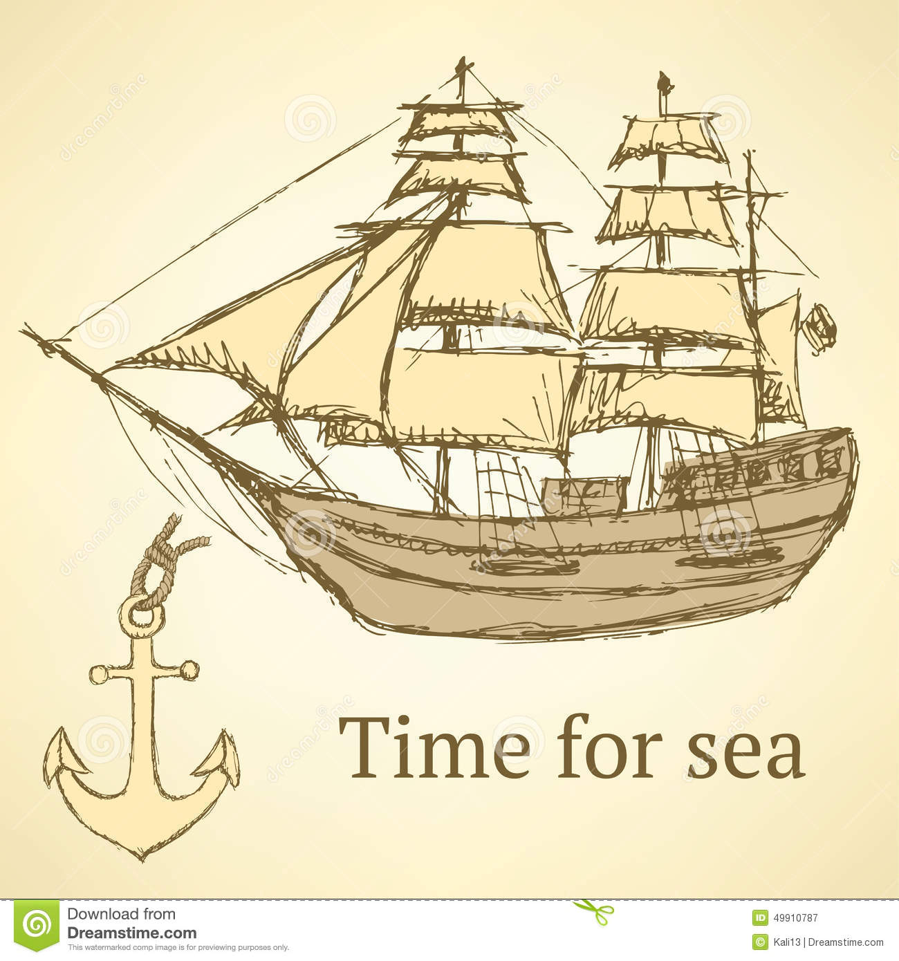 Sketch Anchor And Ship In Vintage Style Stock Vector