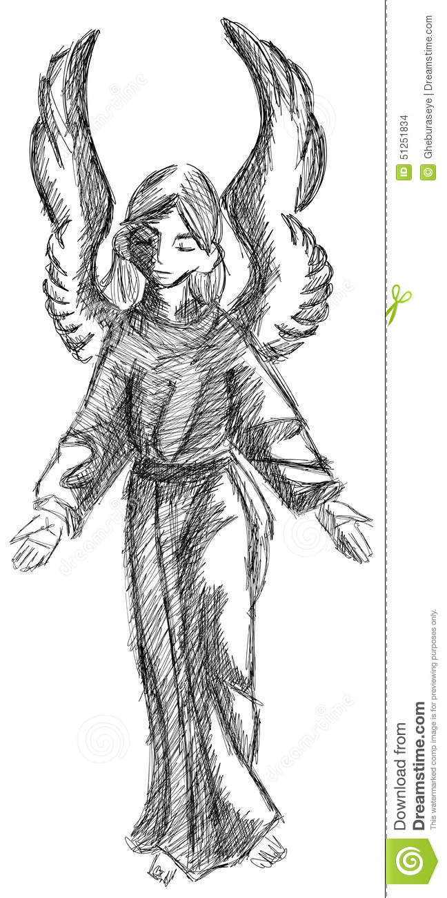 Sketch Of An Angel In Black Isolated Stock Vector Illustration Of