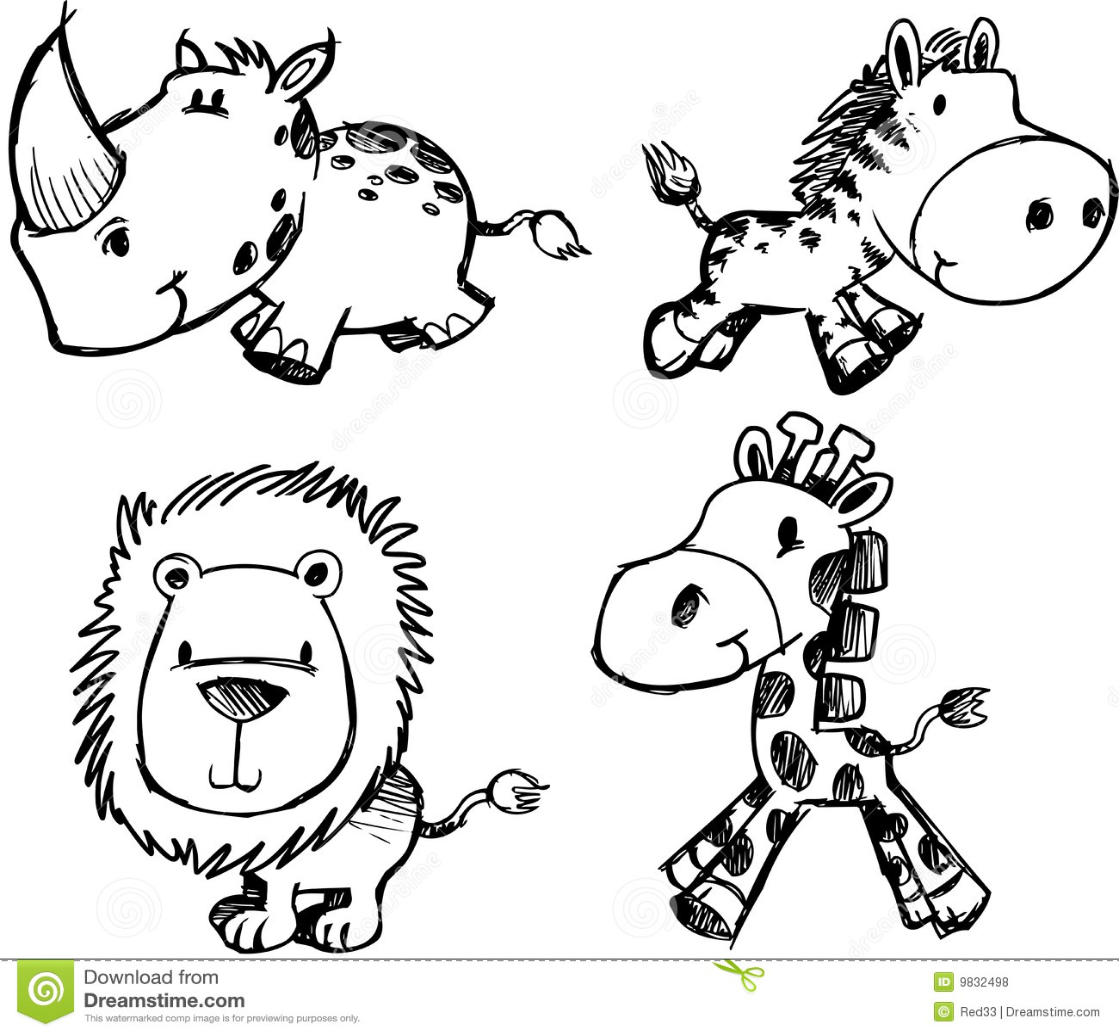 Royalty Free Stock Photos: Sketch Animal Set Vector