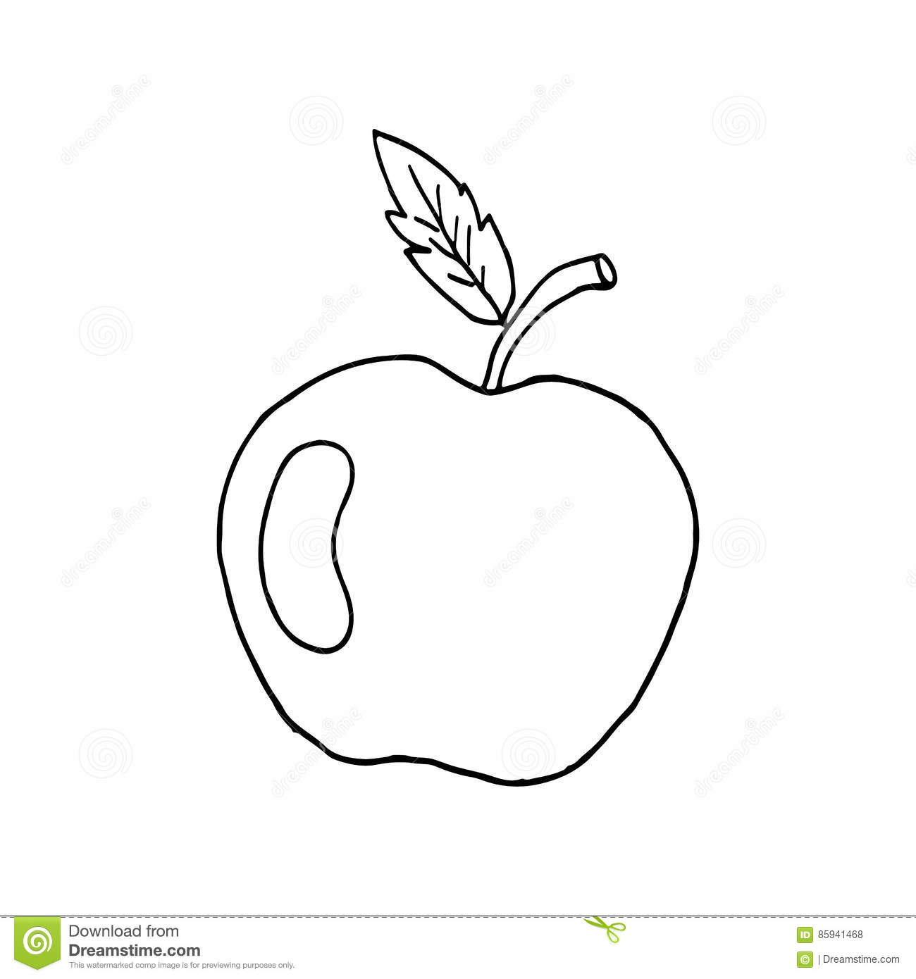 sketch of an apple with a leaf and patch of light  vector