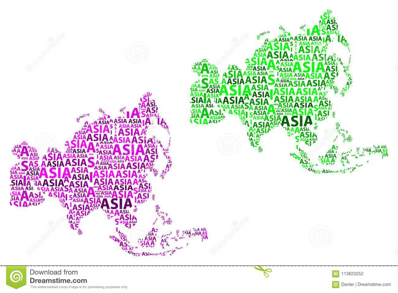 The Continent Of Asia Map.Map Of Continent Asia Vector Illustration Stock Vector