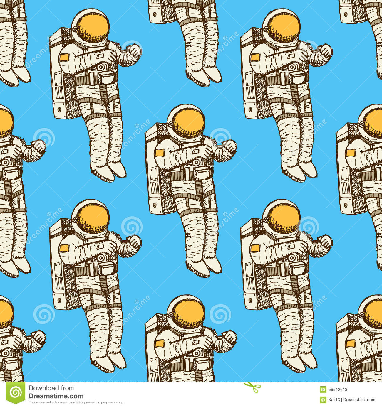 Sketch Astronaut In Vintage Style Royalty Free Illustration