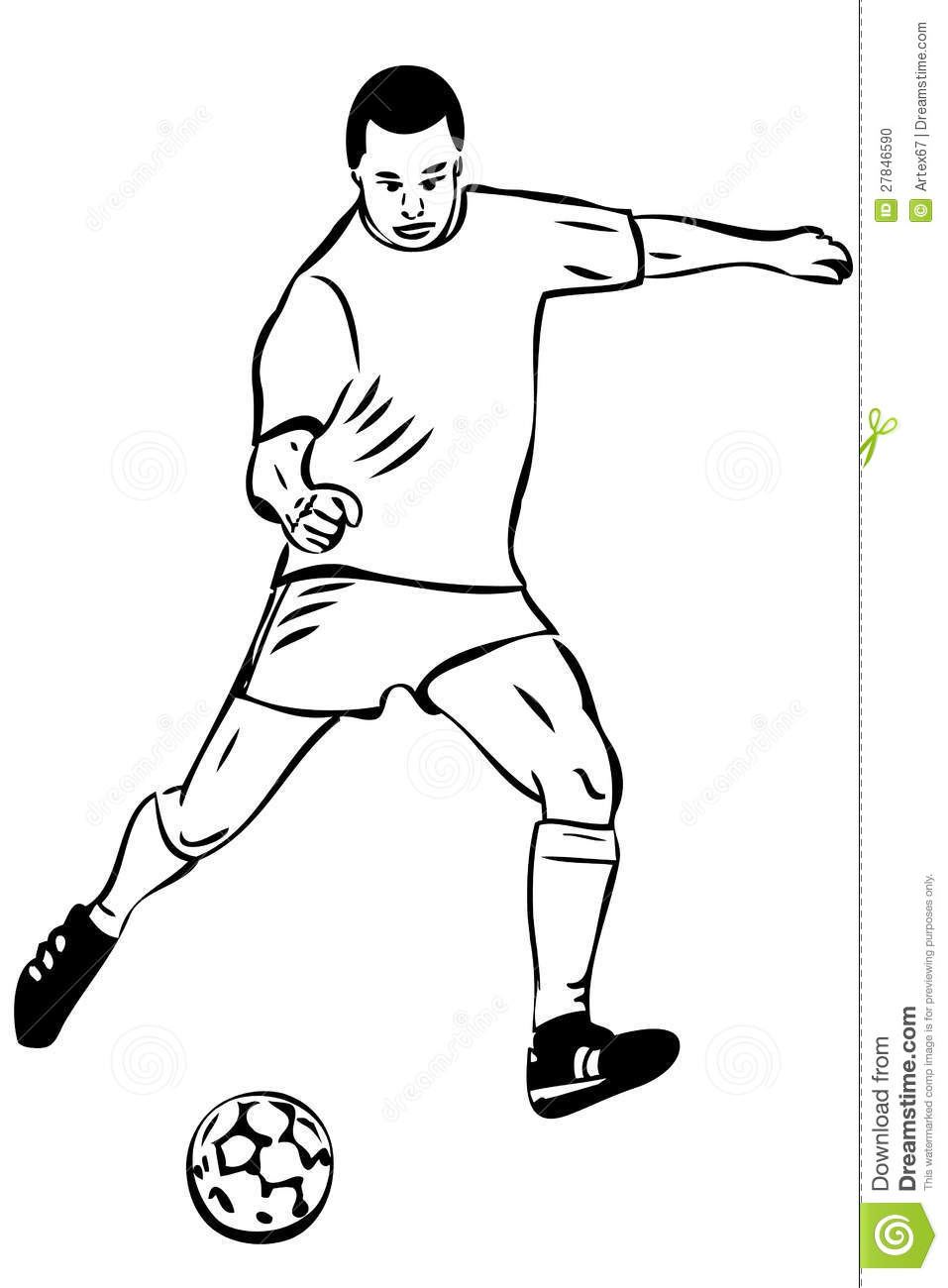 Sketch Athlete Football Player With The Ball Stock Vector - Illustration Of Action Professional ...