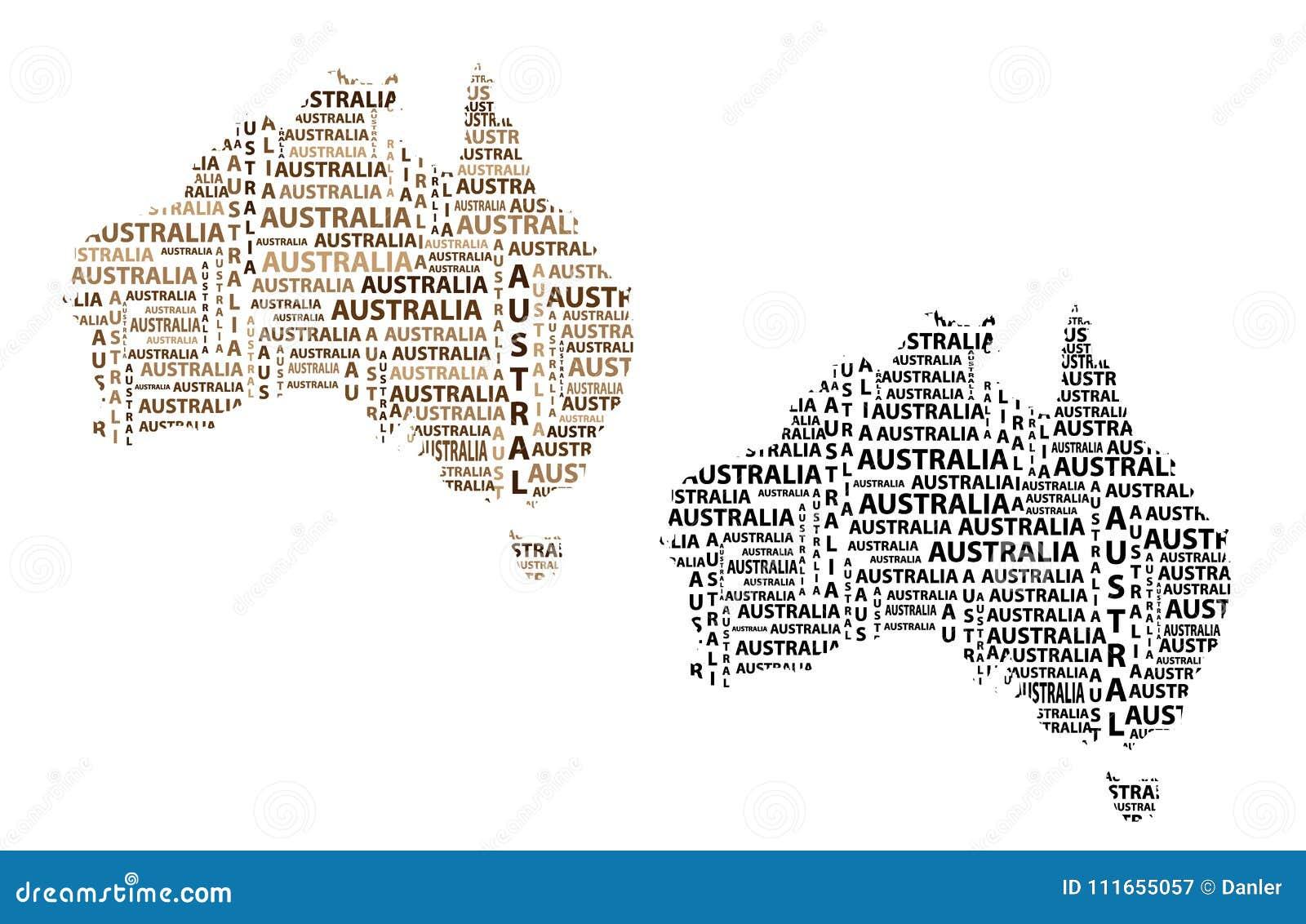 Australia Word Map.Map Of Continent Australia Vector Illustration Stock Vector