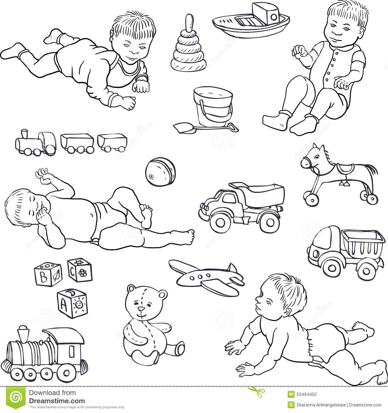 Line Art Cartoon Toys Vector : Sketch of babies and toys stock vector image