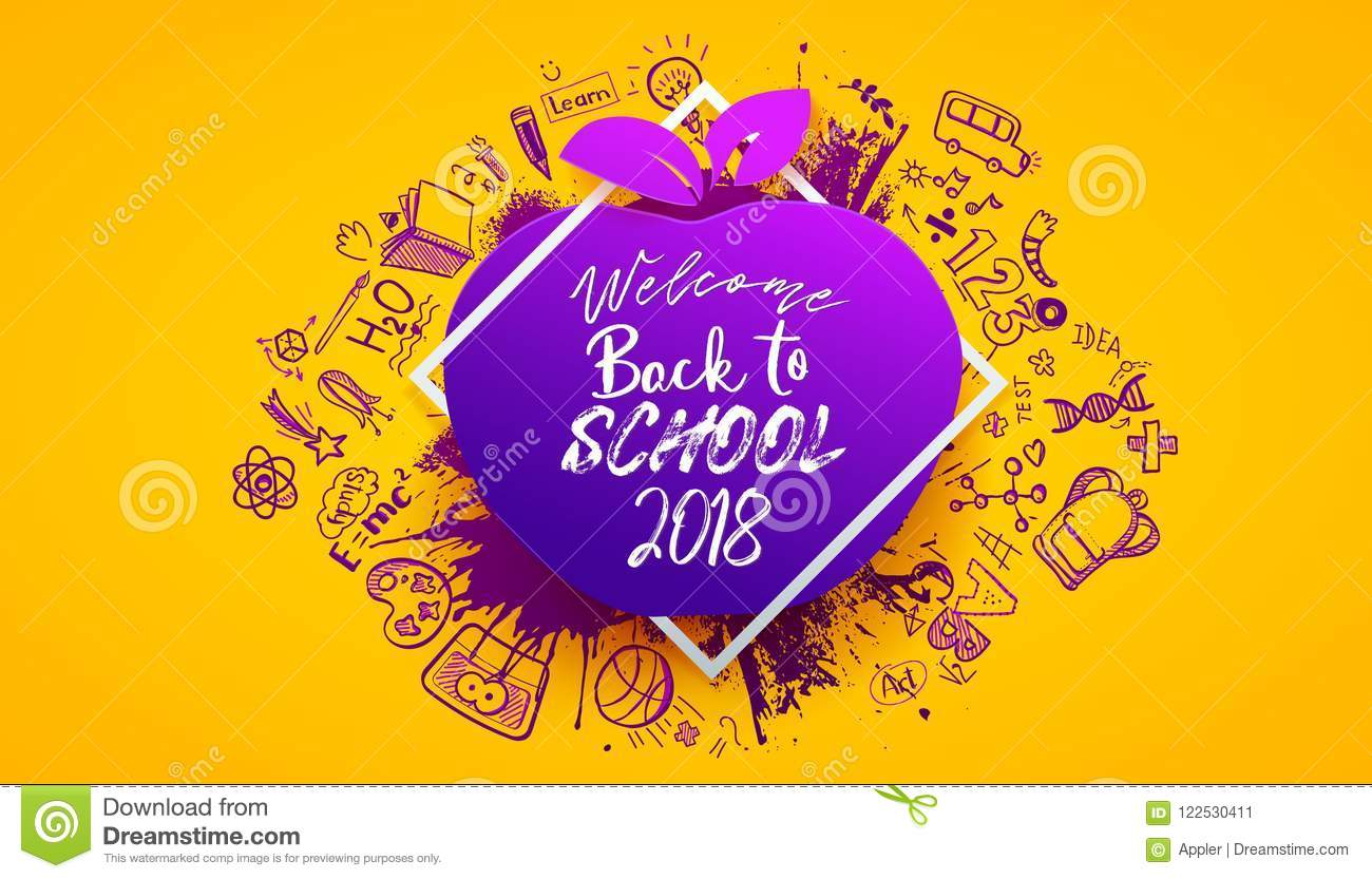 sketch back to school banner stock vector illustration of drawing