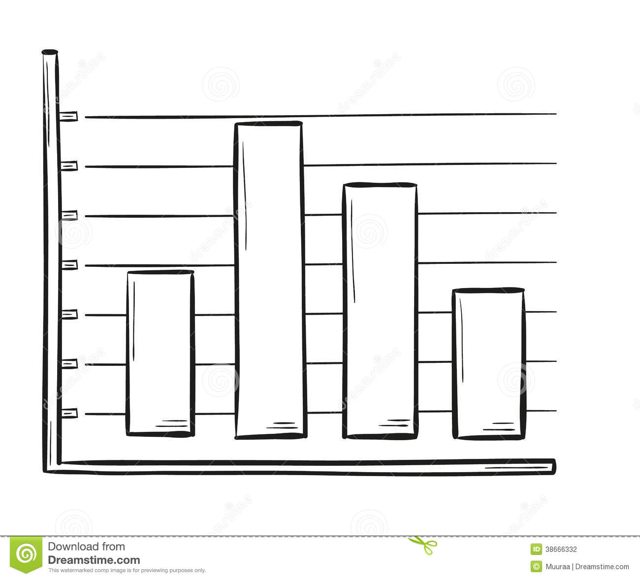 sketch of the bar chart stock vector. illustration of cartoon - 38666332