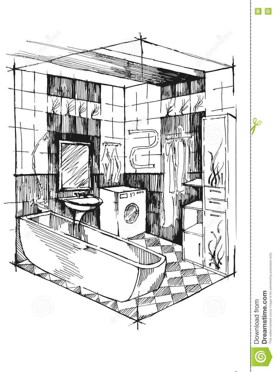 Bathroom sink drawing - Sketch Bathroom Interior Perspective Bathroom With Sink Washing Machine And Cupboards