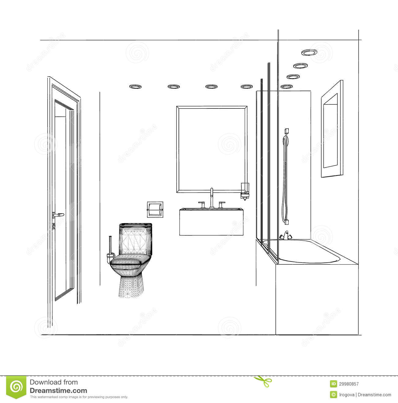 Sketch bathroom royalty free stock photography image for Bathroom design 2d