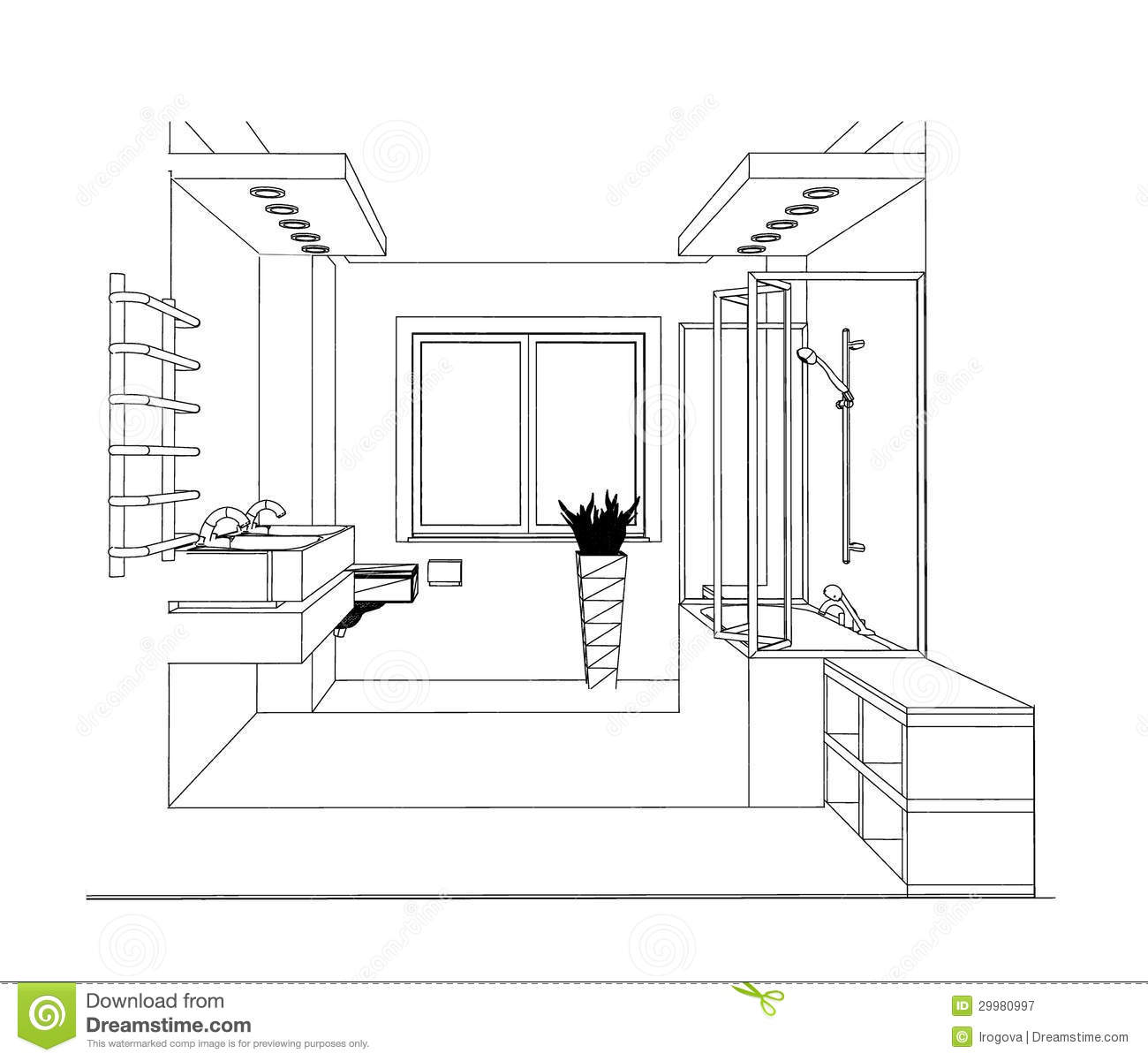 Sketch bathroom stock image image of estate indoor for Bathroom designs drawing