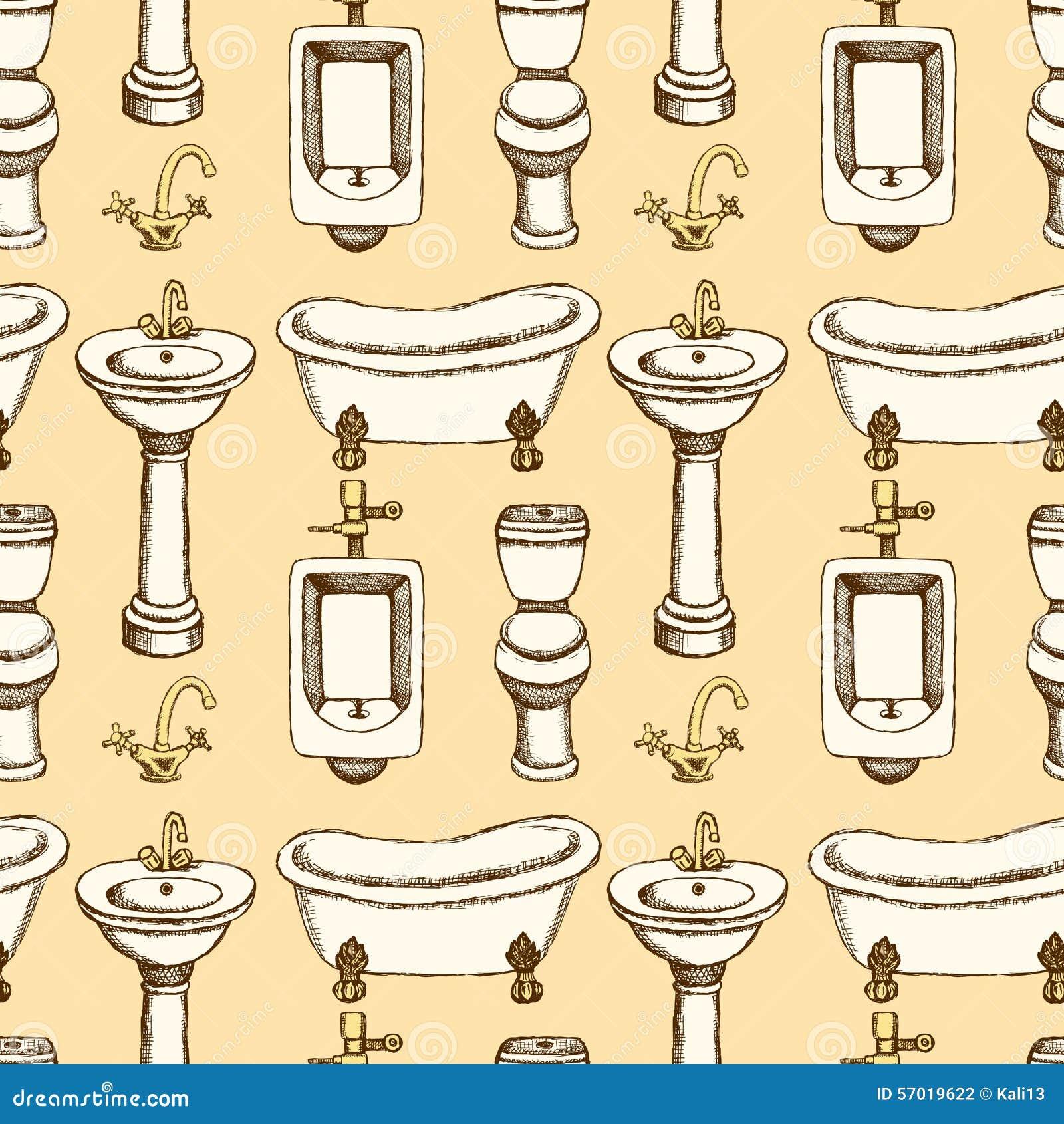 Sketch bathroom and toilet equipment. Sketch Bathroom And Toilet Equipment Stock Vector   Image  57019622