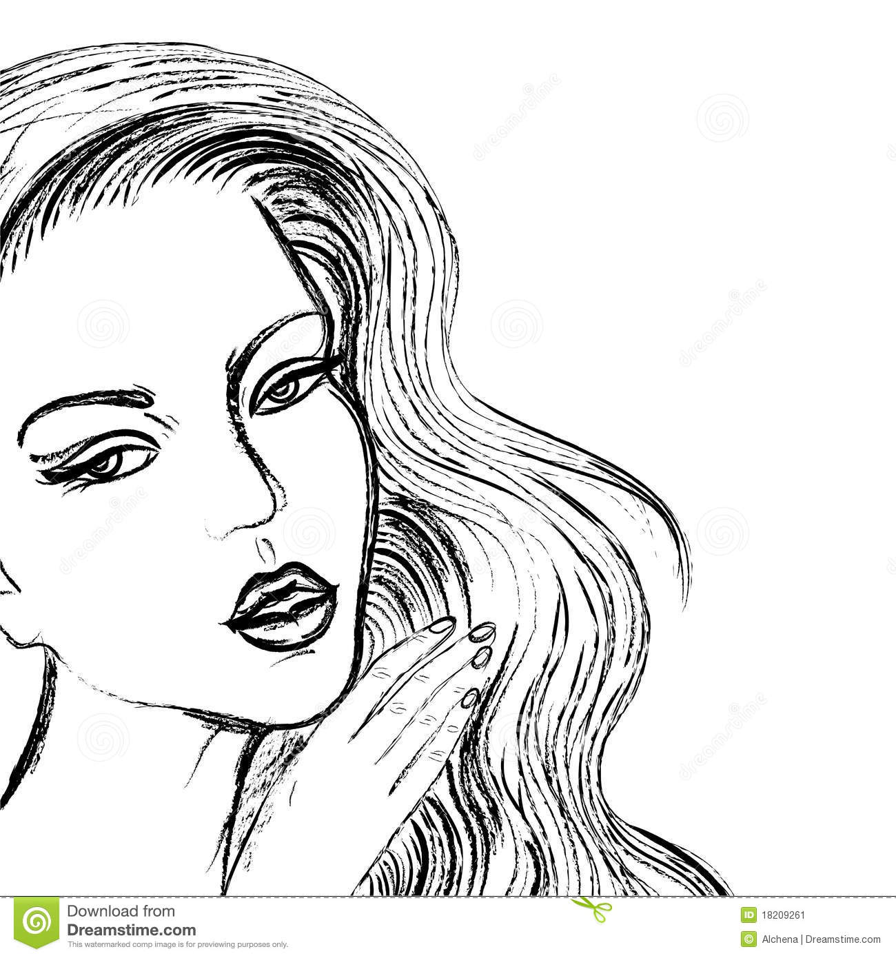 Sketch of beautiful women face like drawn by coal