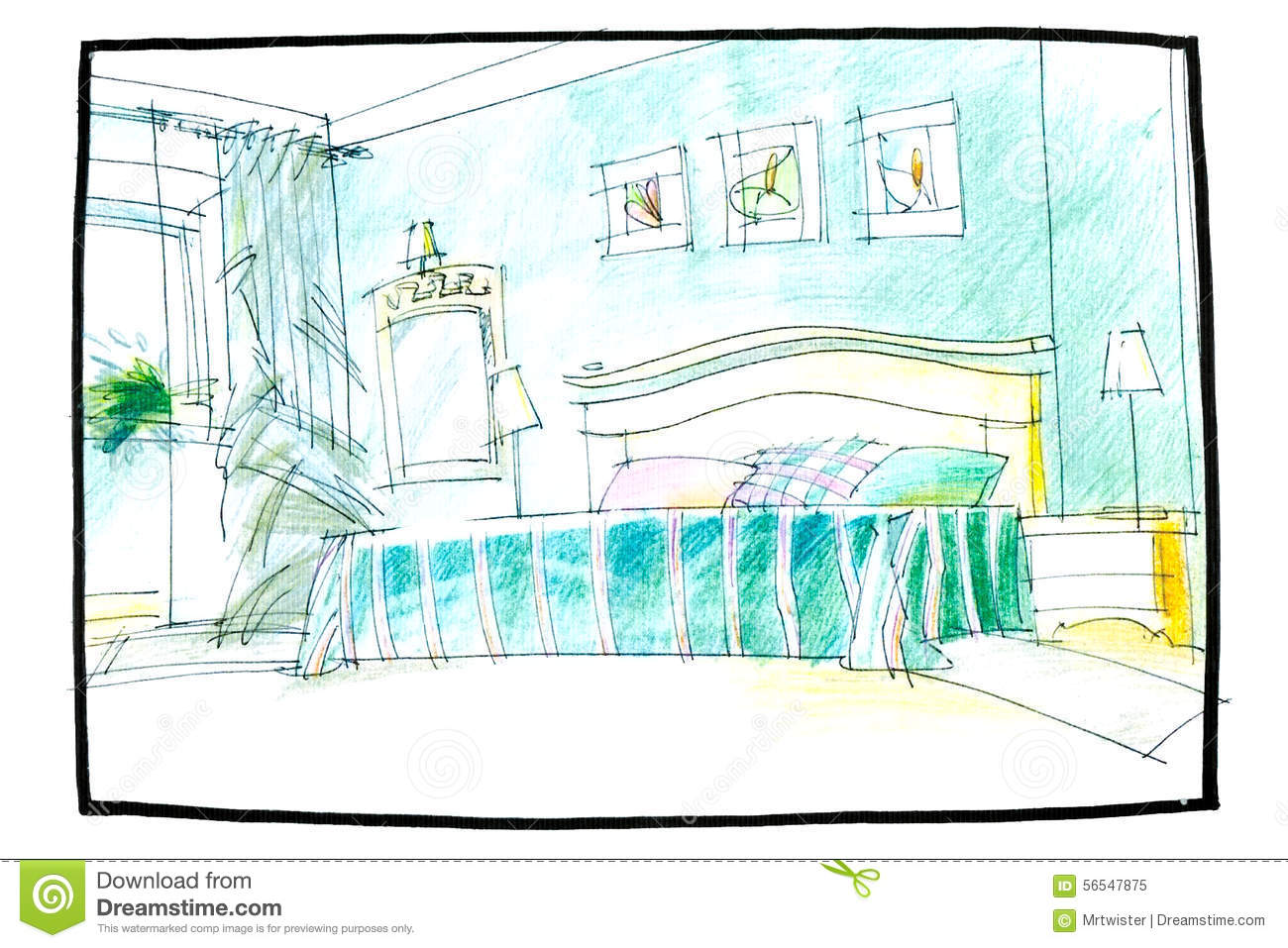 Bedroom drawing with color - Sketch Of A Bedroom Royalty Free Stock Photo