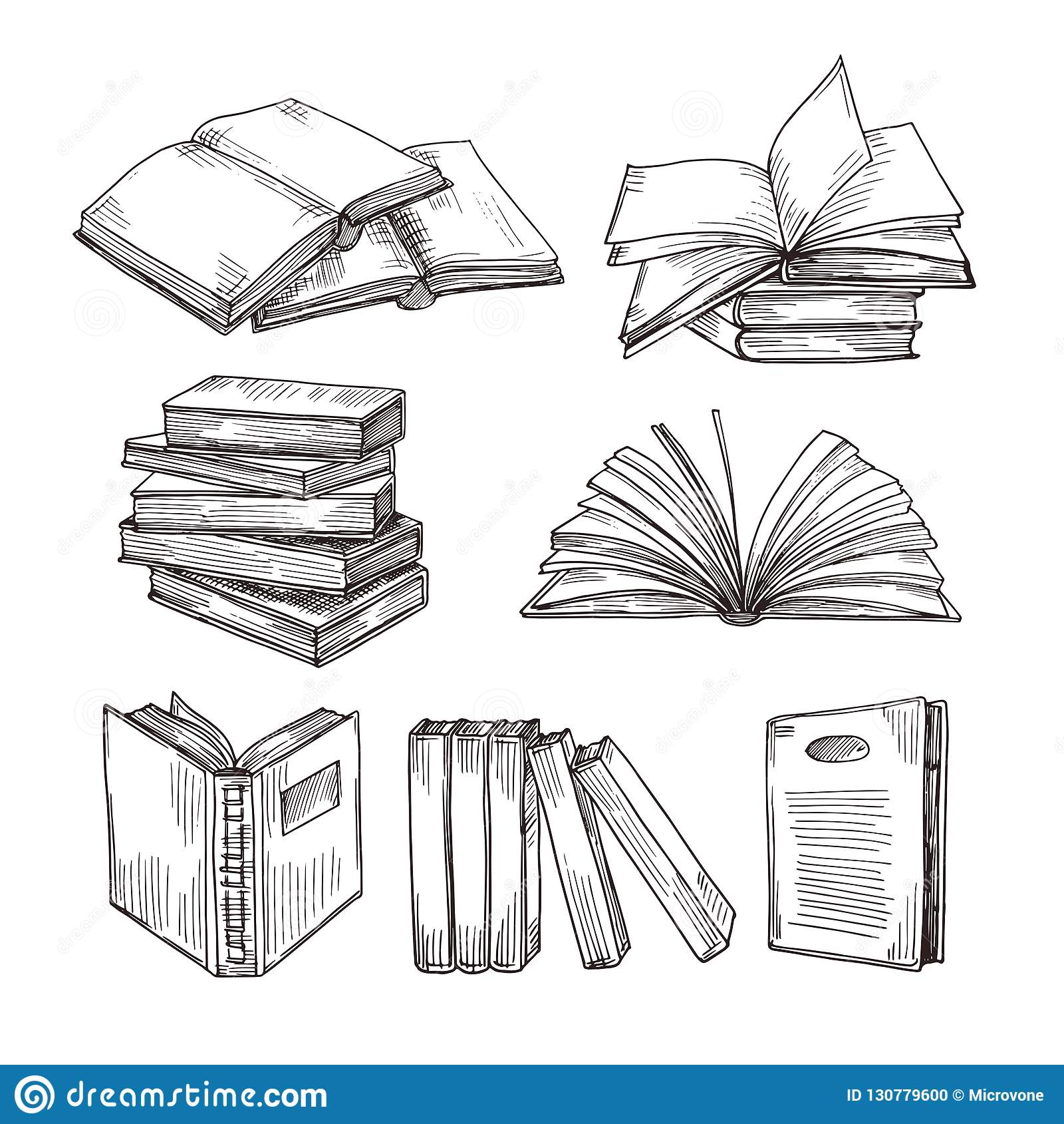 Sketch books. Ink drawing vintage open book and books pile. School education and library doodle vector symbols