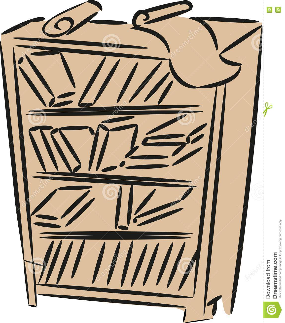 Download Sketch Of Bookshelf Stock Vector Illustration Drawing