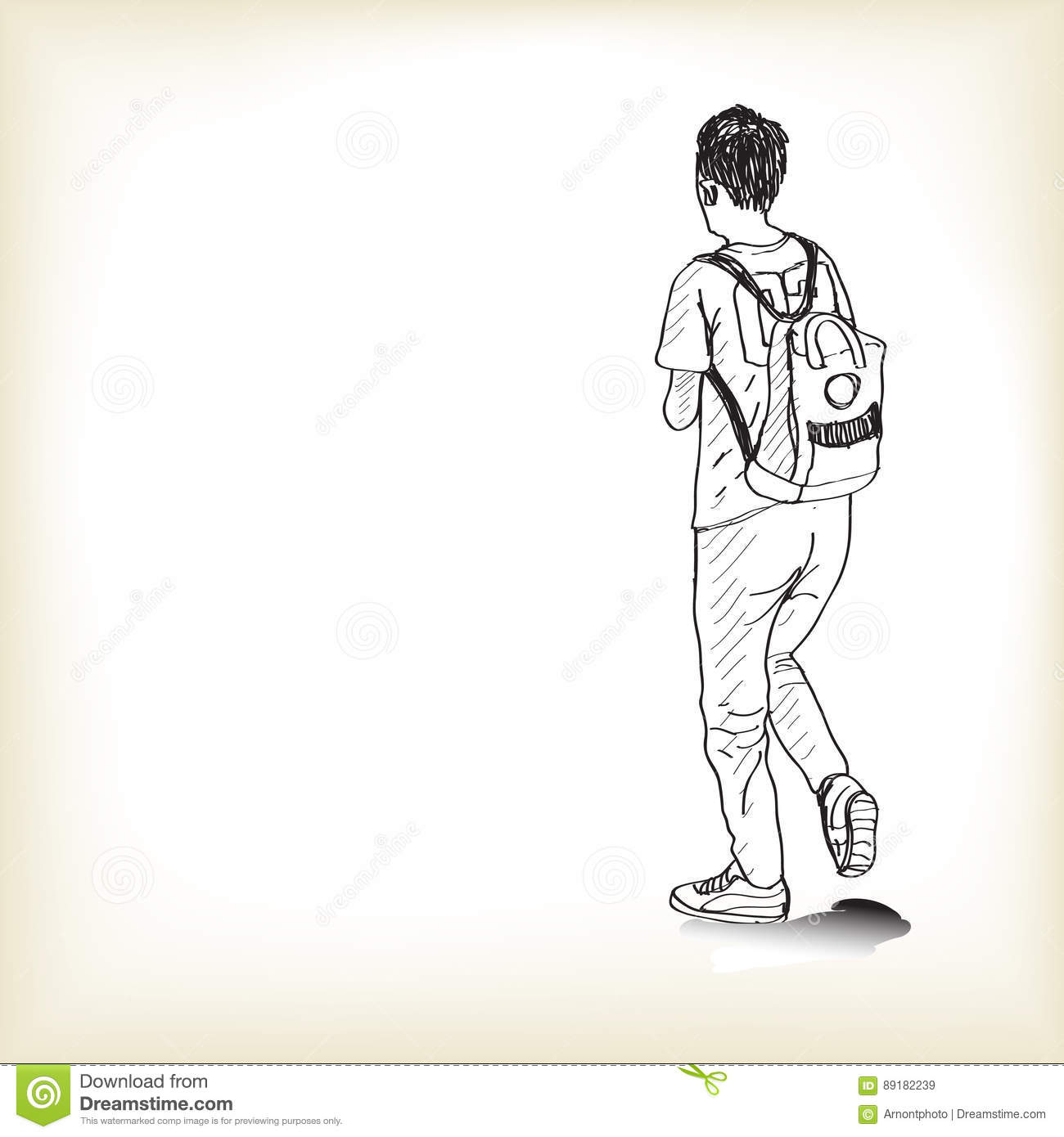 Sketch a boy walking with backpack to schoo