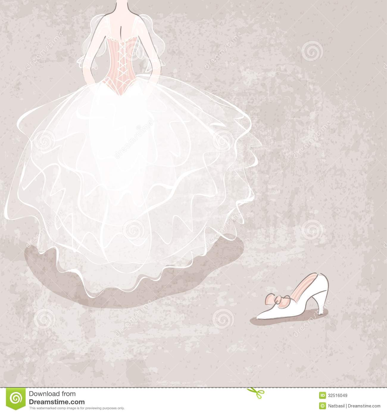 Sketch Bride In Wedding Dress On Grungy Background Stock ...