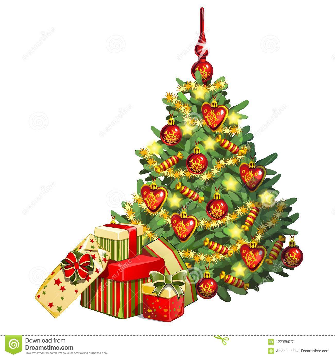 sketch with brightly decorated christmas tree a bunch of boxes with gifts sample of