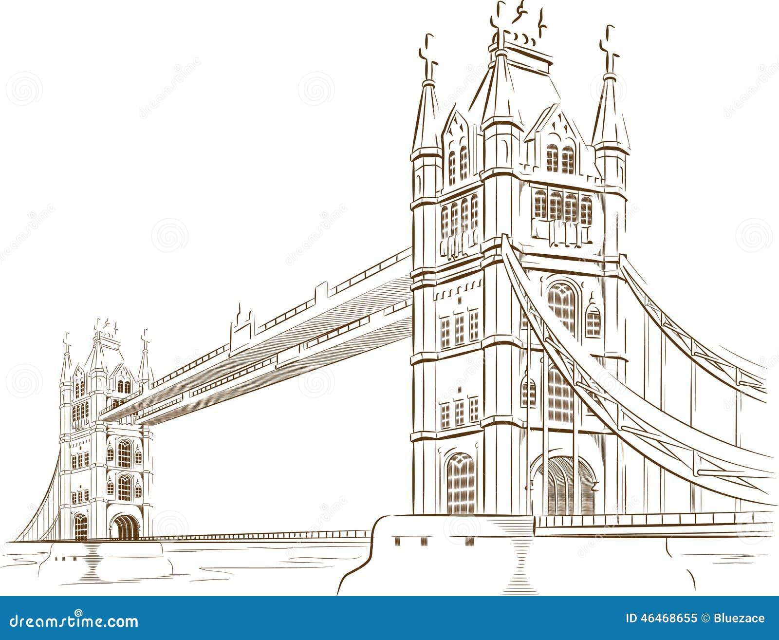 Sketch of british tourism landmark london bridge stock for Design bridge london