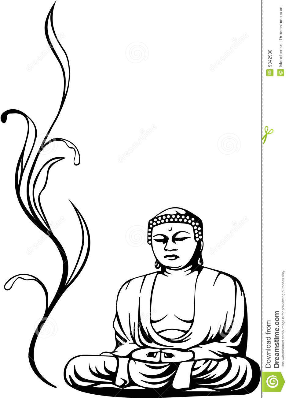 Black And White Sketch Or Illustration Of A Buddha Sitting