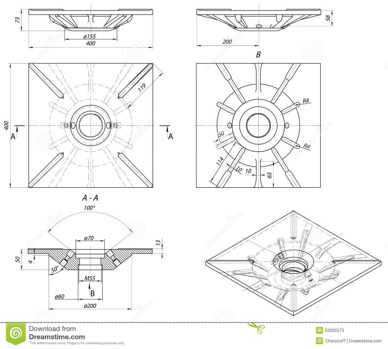 Drawing Lines Engineering : Sketch of bushing vector image stock