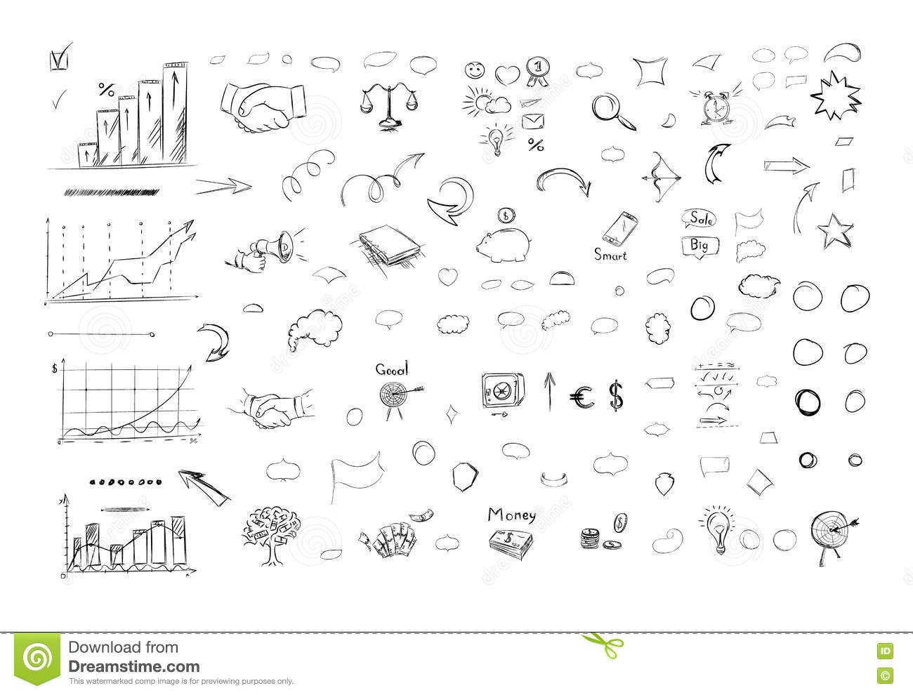 Sketch Of Business Elements In Outline Stock Vector Illustration