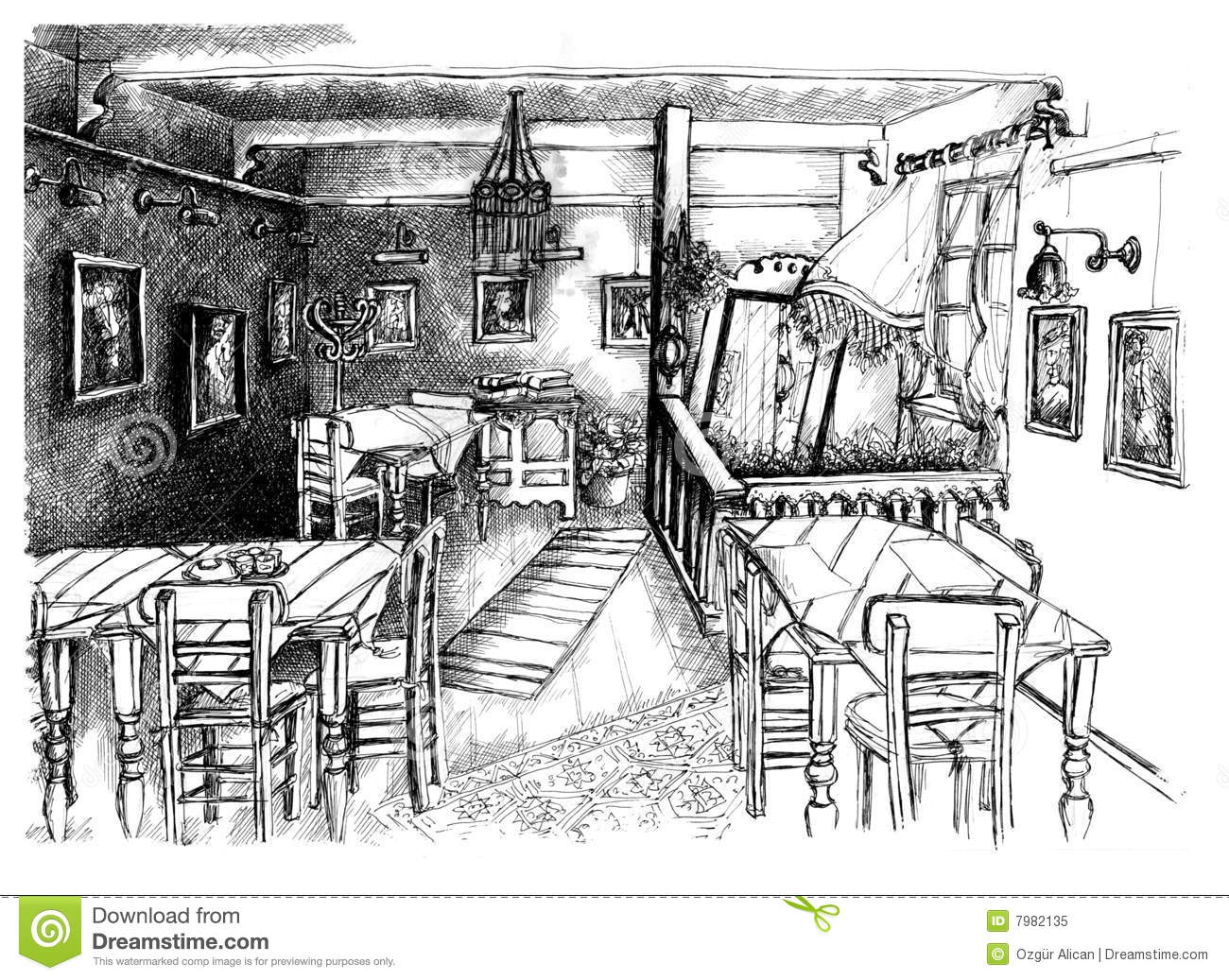 Cafe drawing interior - Sketch Of Cafe Interior