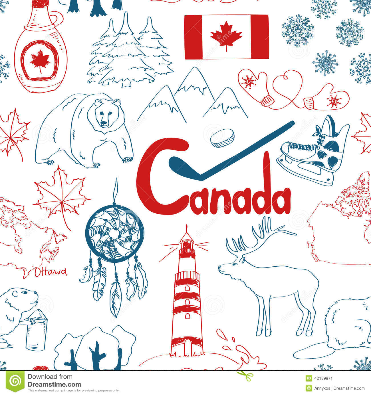 Sketch Canada Seamless Pattern Stock Vector Image 42189871