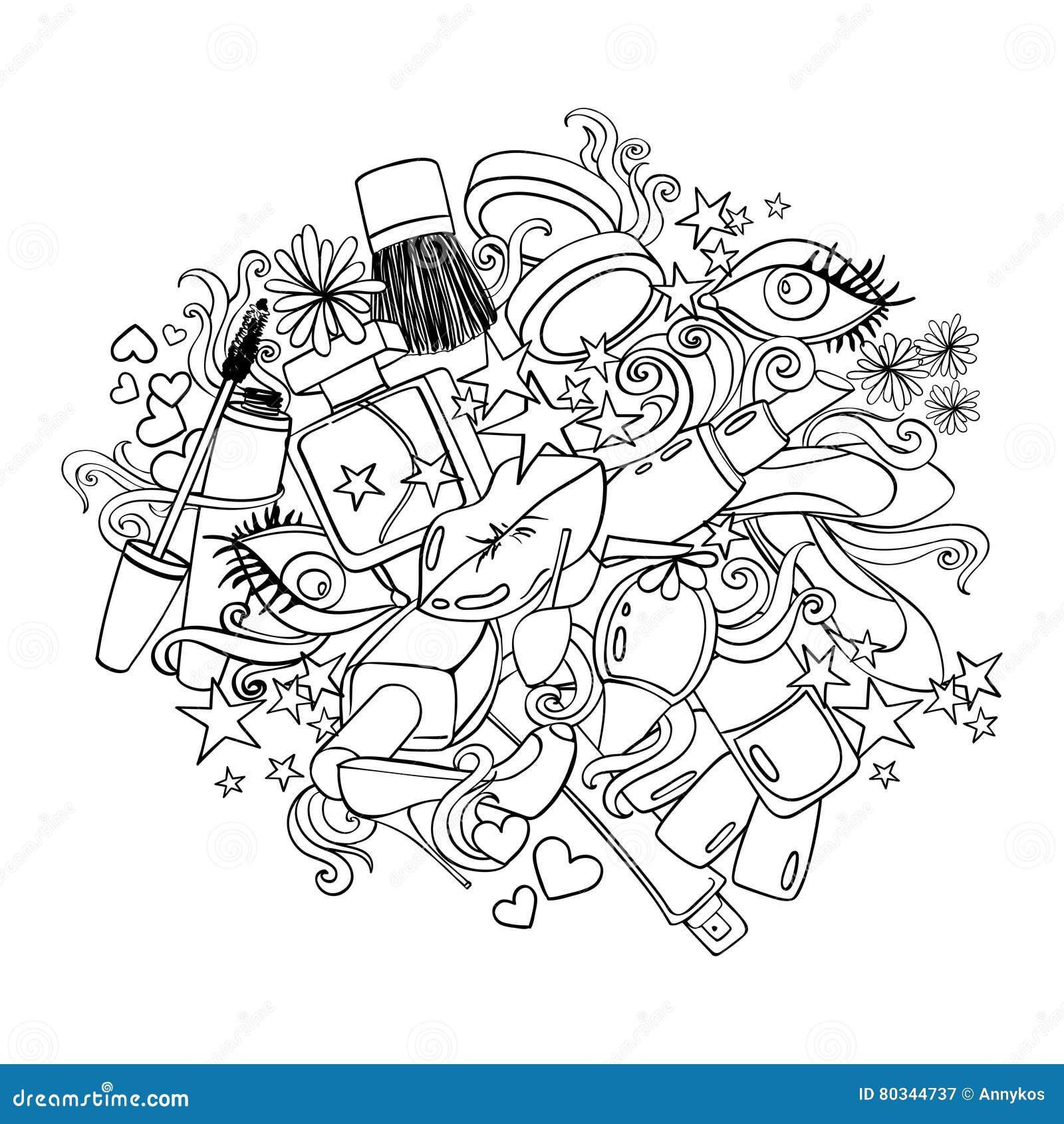 Sketch Cartoon Illustration With Decorative Cosmetics ...