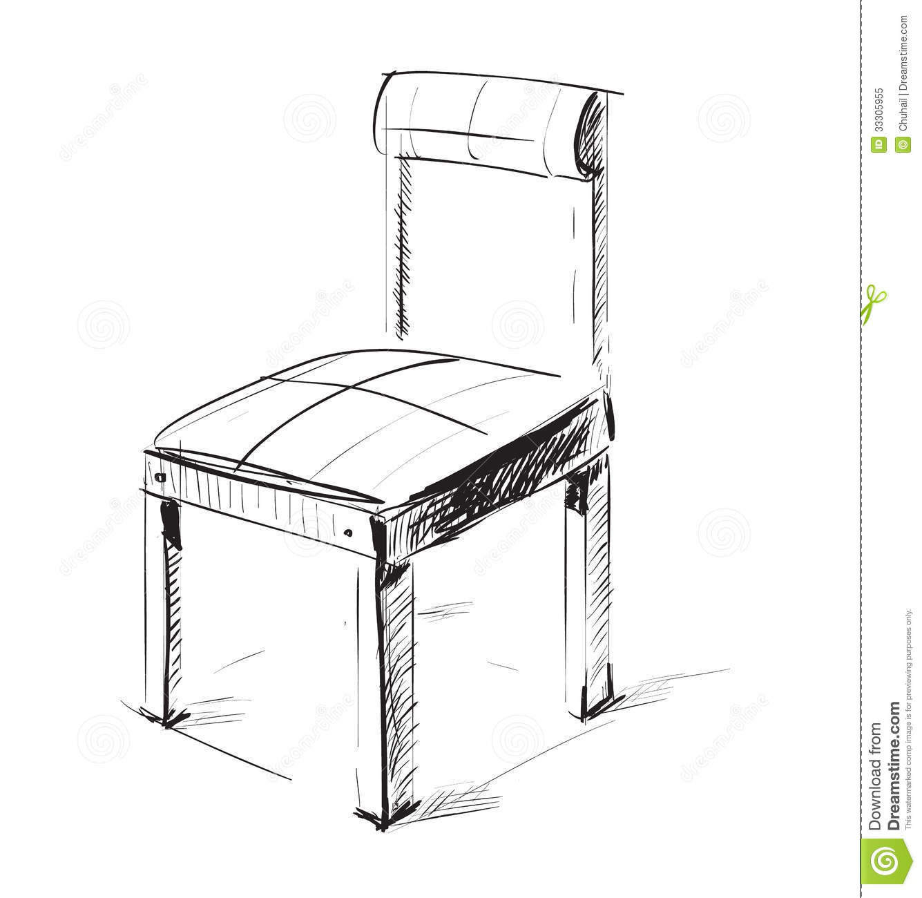 Sketch chair icon stock vector image of white simple for 3d sketch online