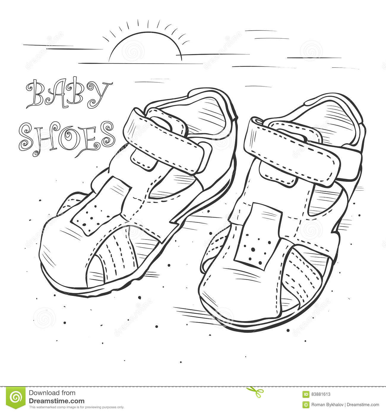 d3c9c1118ed1c Sketch vector. Children`s sandals for a boy. Shoes. More similar stock  illustrations