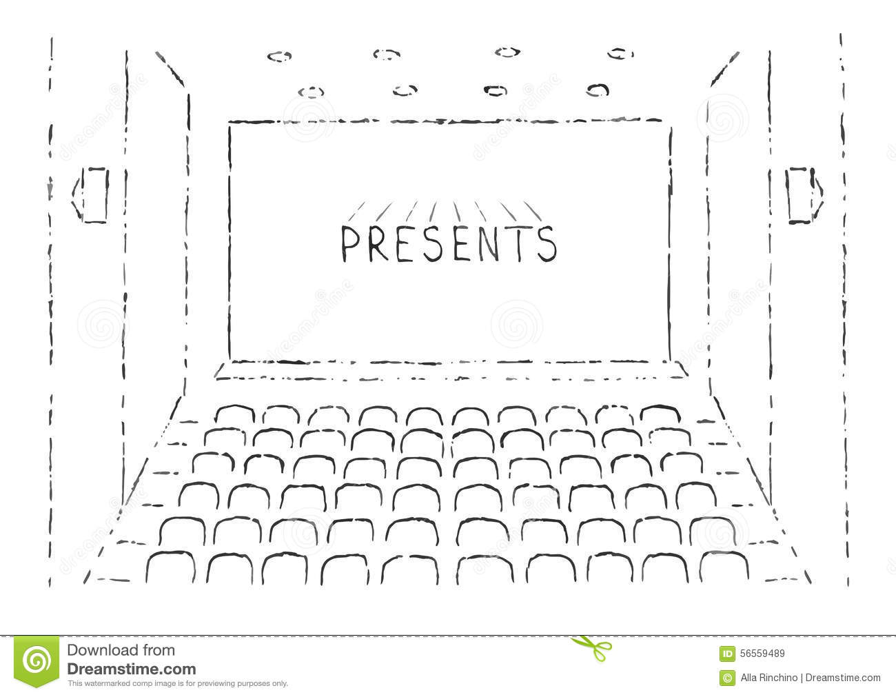 Simple Floor Plan With Dimensions Sketch Of Cinema Hall Stock Vector Image 56559489