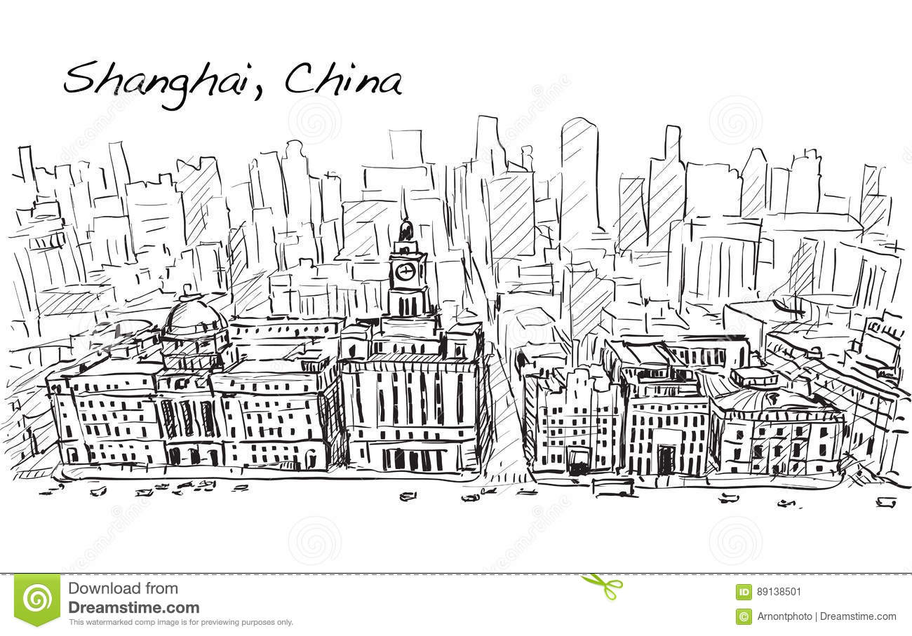 Sketch City Scape Of Shanghai China The Building In Downtown