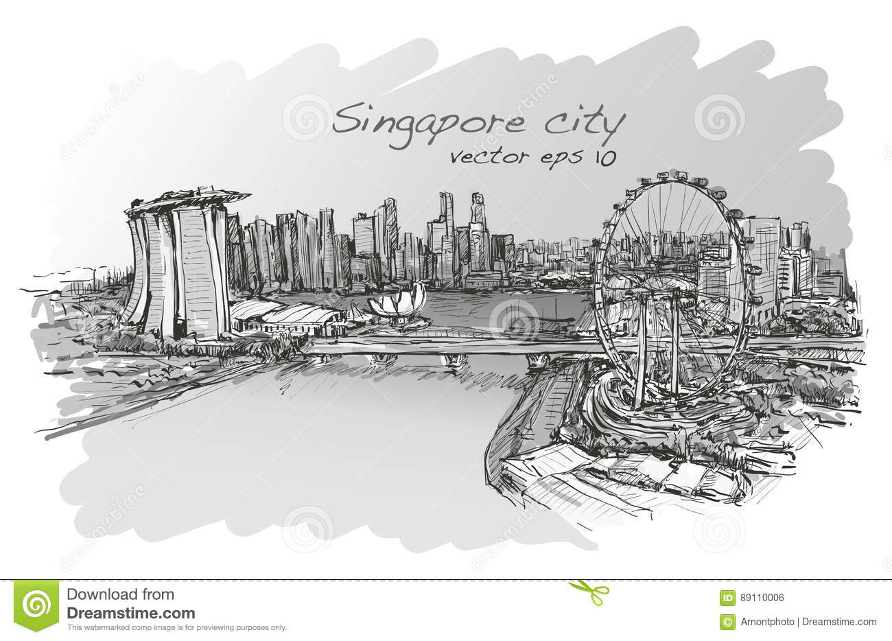 Sketch City Scape Of Singapore Skyline Free Hand Draw Stock Vector