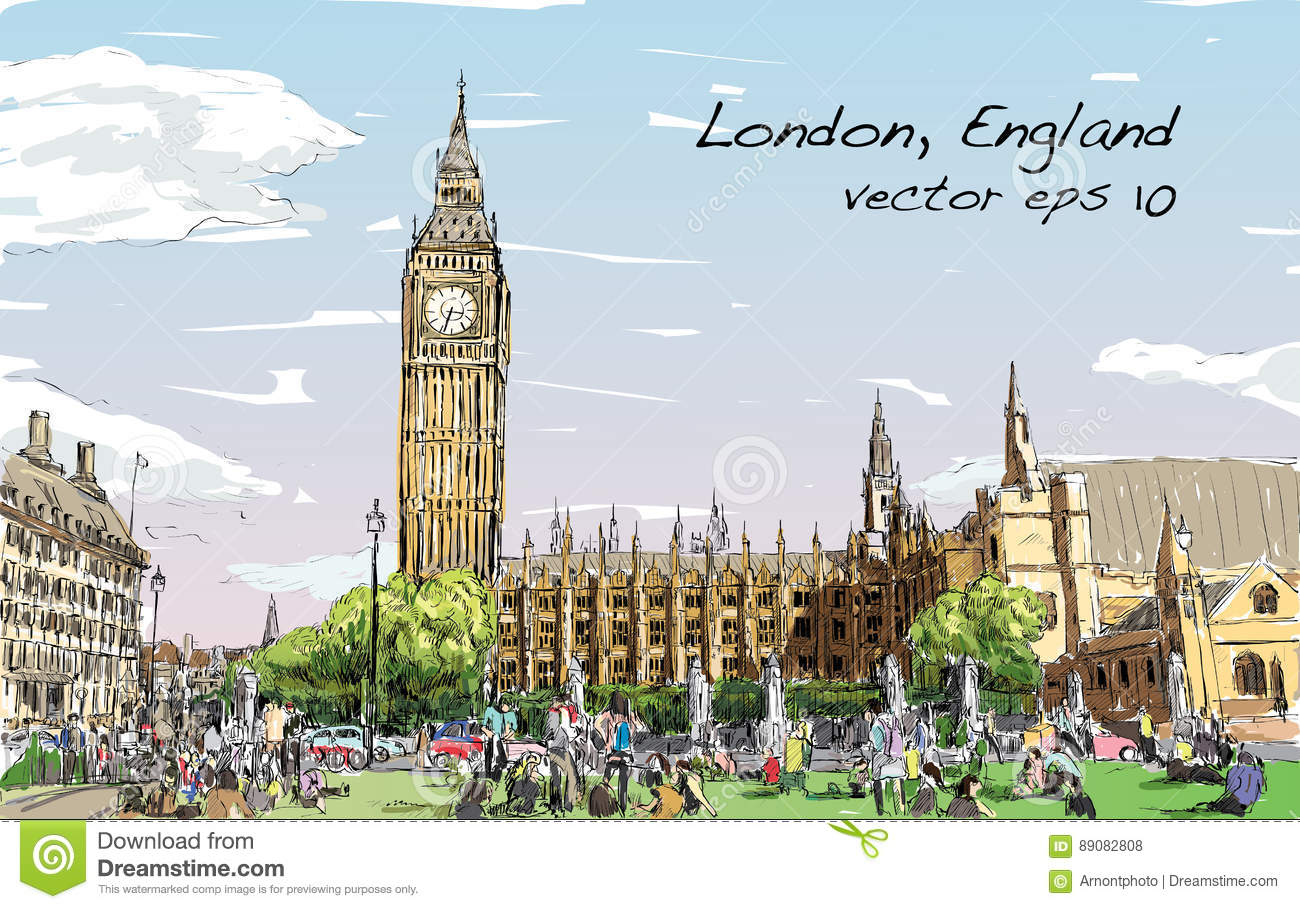Sketch Cityscape of London The Big Ben and houses of parliament