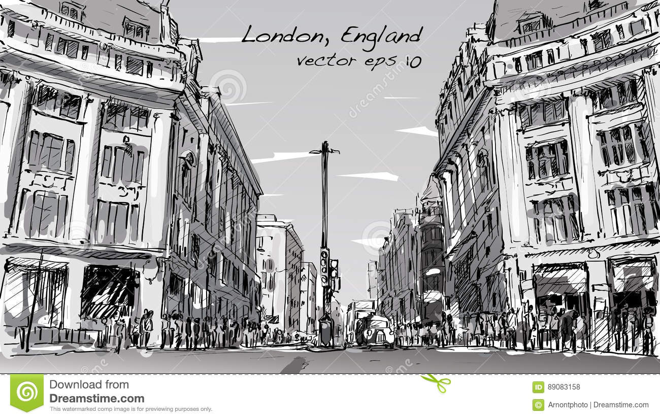The Line Art Walk London : Sketch cityscape of london england show peoples walk street an