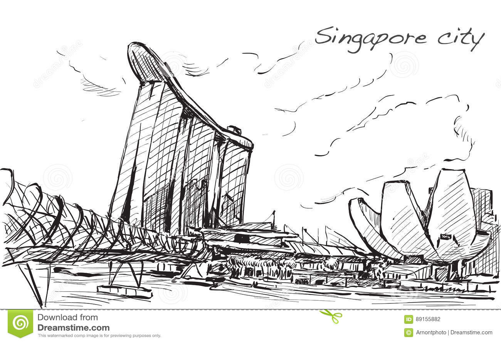 Sketch Cityscape Of Singapore Skyline, Free Hand Draw Stock