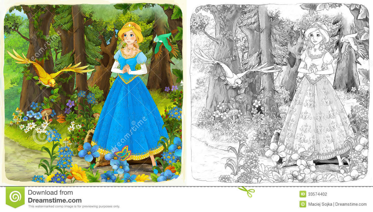 The Sketch Coloring Page Artistic Style Fairy Tale Stock