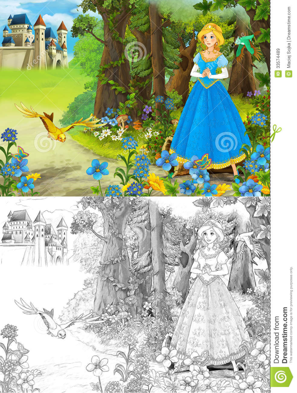 The Sketch Coloring Page Artistic Style Fairy Tale Royalty Free