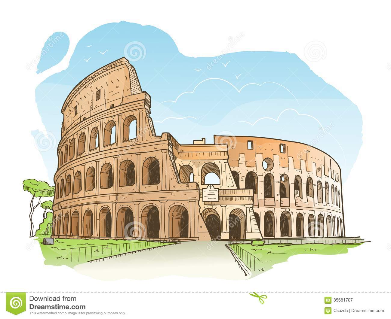 drawing color colosseum  rome  italy cartoon vector roman colosseum clipart Colosseum PNG Transparent