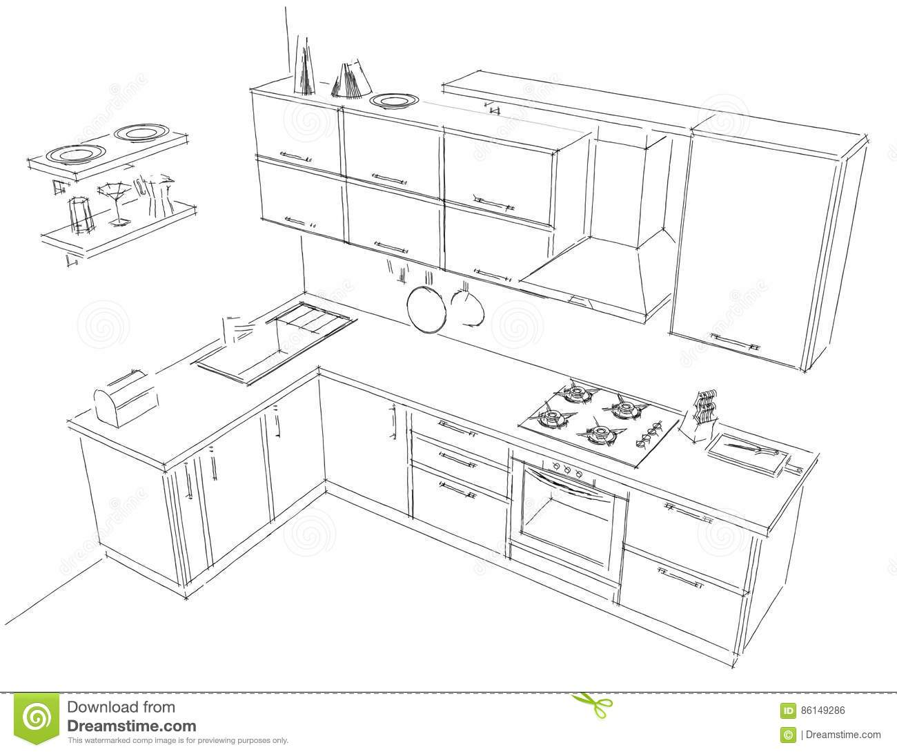 Dream Kitchen Design Drawing: Sketch Contour Drawing Of 3d Contemporary Corner Kitchen