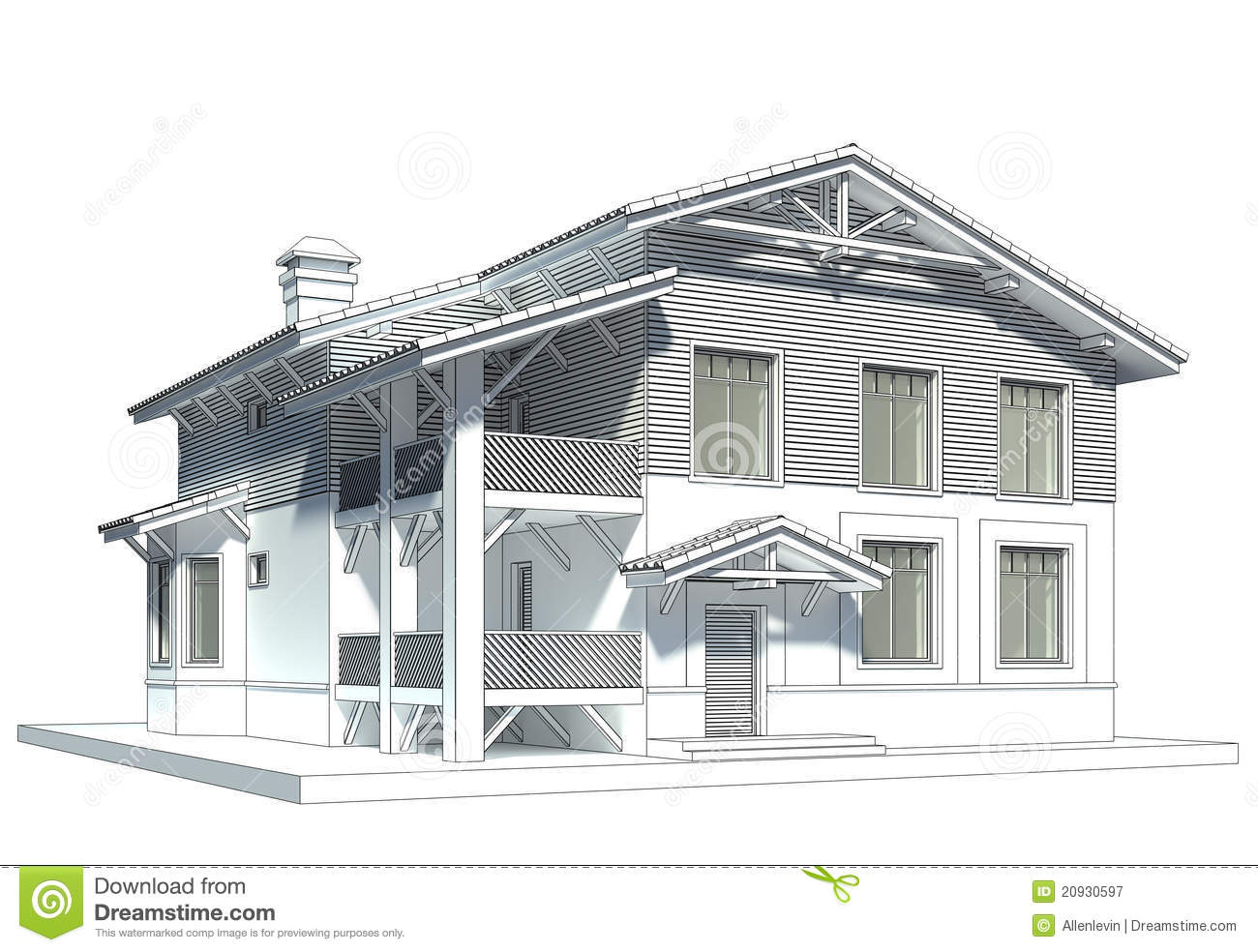 Sketch of the cottage with tiled roof stock illustration for Maisons contemporaines de luxe