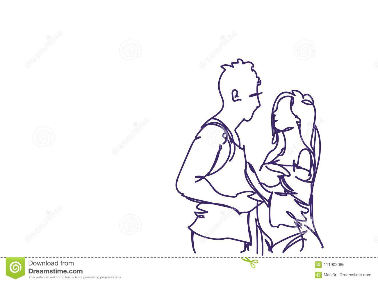 Sketch couple embracing doodle man and woman hug over white background