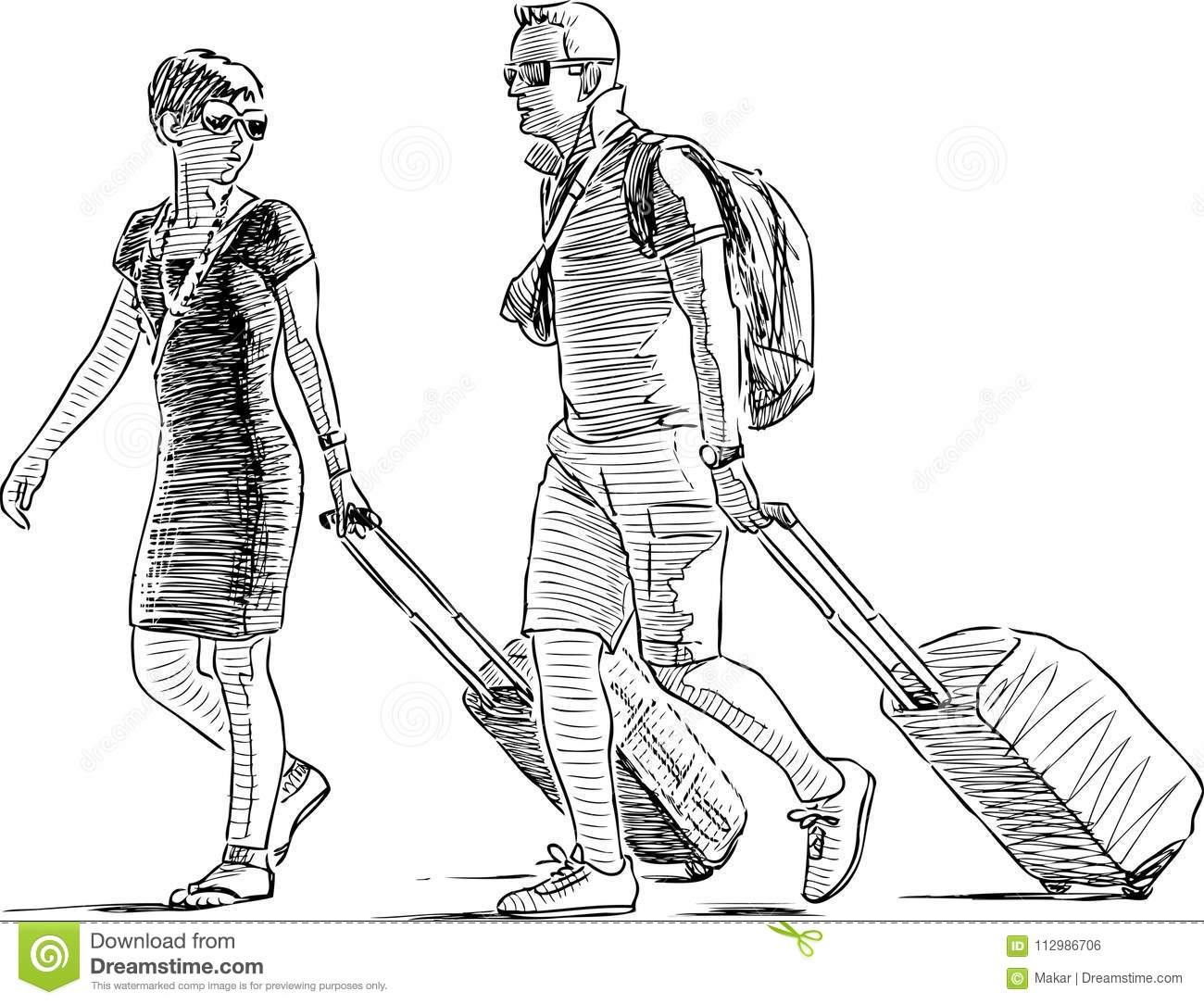Sketch of a couple of vacationers with luggage