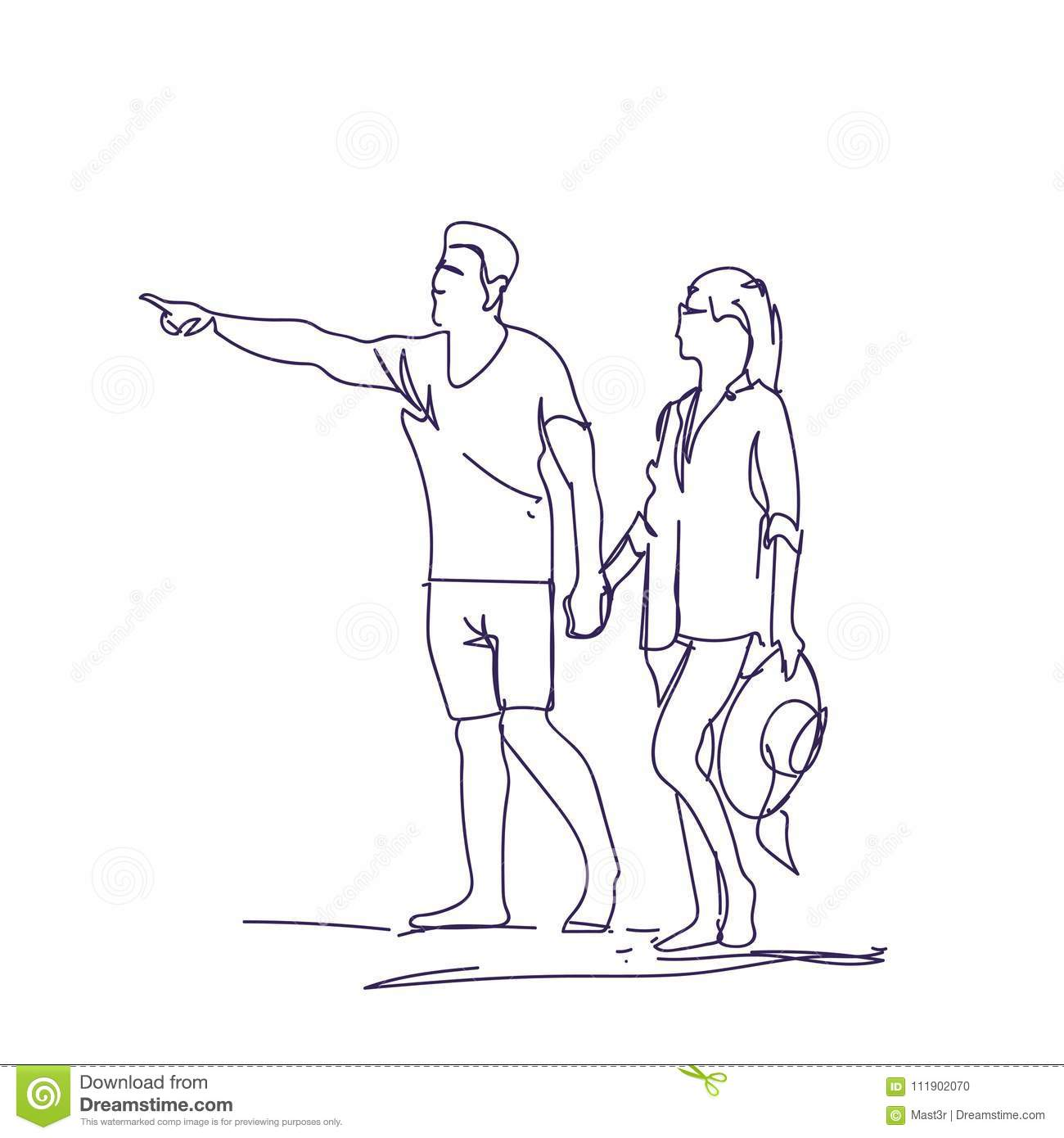 Sketch couple walking holding hands doodle man and woman over white background